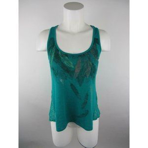 Mudd Rayon Polyester Feather Floral Lace Tank Top
